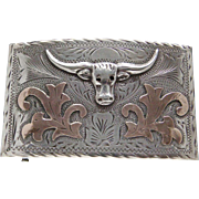 Mexico Sterling Silver 14 Karat Gold Signed Long Horn Belt Buckle Eagle Mark