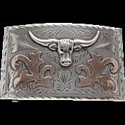 Mexico Sterling Silver 14 Karat Gold Signed Long Horn Belt Buckle Eagle Mark