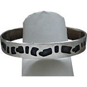 Vintage Navajo Sterling Silver Overlay Cuff Bracelet Segmented Snake Motif