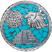 Vintage Sterling Silver Blue Turquoise Mexico Brooch Pendant Pyramid Warrior Old