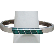 Vintage Sterling Silver Malachite Bangle Bracelet Made in Mexico Good Looking