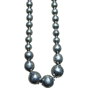 Vintage 1940's Sterling Silver Graduated Round Bead Choker Necklace Old Mexico