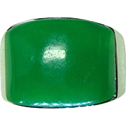 Large Handsome Sterling Silver Apple Green Jade Jadeite Men's Band Size 8 1/2 - Red Tag Sale Item