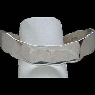 Sterling Silver Hand Hammered Cuff Bracelet Handsome Studio Piece Handsome Heavy