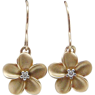Lovely Diamond Plumeria Flower Earrings In 14 Karat Gold By Maui Divers Jewelry