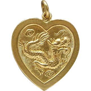 Heavy .9999 Solid Asian Gold Dragon Phoenix Heart Pendant 24 Karat Pure Gold Old