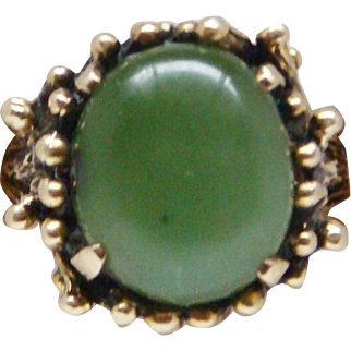 Large Handsome Custom Made 14 Karat Yellow Gold Green Jade Jadeite Ring Immense