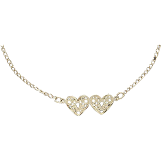 """Exceptional 14 Karat Yellow Gold Double Heart Ladies Bracelet Anklet 9"""" Inches"""
