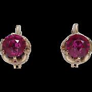 Vintage Soviet Russia Rose Gold Earrings 14 K 583 Red Ruby 6.2 gr Russian USSR