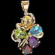 Delightful Multi Colored Gemstone Diamond 10 Karat Yellow Gold Necklace Pendant