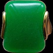 24 Karat Gold Over Sterling Silver Apple Green Jade Jadeite Men's Ring Size 7.5