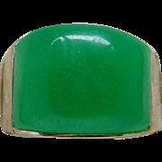 24 Karat Over Sterling Silver Apple Green Jade Jadeite Men's Band Size 8.5 Nice