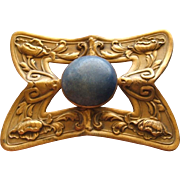 Antique Art Nouveau Denim Blue Lapis Lazuli Brass Brooch Poppy Flower Pattern