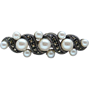 Vintage Sterling Silver Imitation Pearls and Marcasite Brooch By Judith Jack WOW