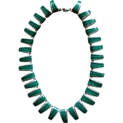 Stunning Early Mexican Sterling Silver Green Malachite Choker Necklace Gorgeous