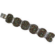 Vintage 1920's Sterling Silver Inlaid Panel Bracelet Marked Sterling Mexico Nice