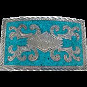 Vintage Blue Turquoise Inlaid Sterling Silver Engraved Large Belt Buckle Handsome
