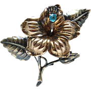 Vintage 40's Large Heavy Sterling Silver Gold Plated Blue Rhinestone Brooch Nice