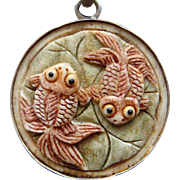 """Vintage Hand Carved Fancy Gold Fish Dyed Bone Sterling Silver Pisces Pendant 30"""" Inch Long Chain"""