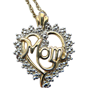 MOM Diamond Accent Heart Pendant Sterling Silver Gold Vermeil Necklace Gorgeous
