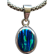 Magnificent Black Opal Pendant 950 Silver Necklace Signed Made in Mexico Lovely