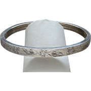 Southwestern Style Desert Rose Engraved Sterling Silver Bangle Bracelet Graceful