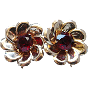 Vintage Red Rhinestone Sterling Silver Gold Plated Screw Back Earrings Lovely