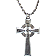 Large Celtic Cross Pendant Sterling Silver Rope Chain Necklace 18 Inches Long