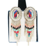 Vintage Sterling Silver Signed Navajo Inlaid Dangle Turquoise Coral Earrings
