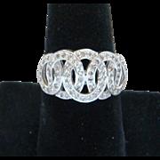 Stunning 14 Karat White Gold Diamonds Interlocking Circles Ladies Band Ring