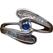 Beautiful Vintage Sapphire Diamond 10 Karat White Gold Bypass Ladies Cocktail Birthstone Right Hand Ring