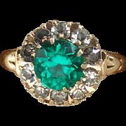 Vintage 10 Karat Yellow Gold Green Stone with White Rhinestones Right Hand Ring