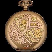 Hampden Watch Co Pocket Watch William McKinley Model Tri Colored Case Antique 1905 16s