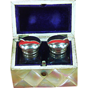 Mother of Pearl Boxed Set of 2 Ink Bottles c1870