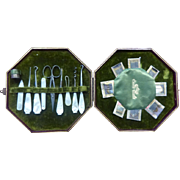 English Mother of Pearl Sewing or Needlework Set Green Trim
