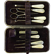 English Mother Of Pearl Shell Sewing Set c 1880