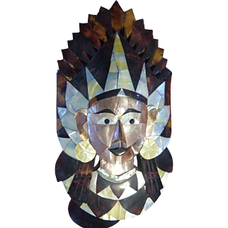 Outstanding Mother Of Pearl Shell Mask from Java - King Rama - offer
