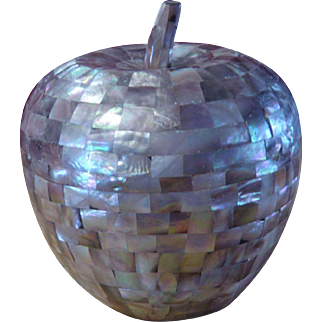 Decorative and Gigantic Mother Of Pearl Shell Tea Caddy In The Shape Of An Apple