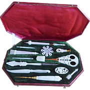 Rare Palais Royal Mother Of Pearl Sewing Set From the Revival Period
