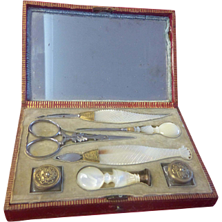Ultra Rare Palais Royal Mother Of Pearl Handled Writing Set, France C1810-20 Offer