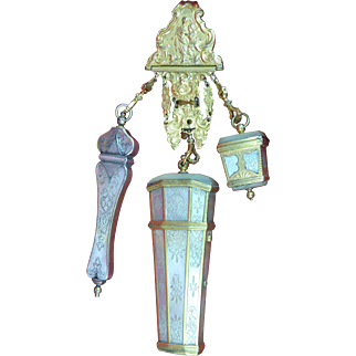 Mother Of Pearl Shell Sewing Chatelaine -C 1750