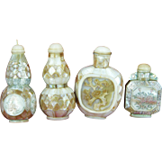 Collection Of 4 Different Chinese Carved Mother Of Pearl Shell Snuff Bottles