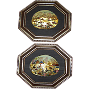 Two Framed Mother Of Pearl Shell Persian Paintings