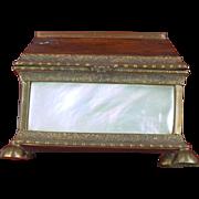 Mother Of Pearl Shell Casket Shape Trinket Box, France c1870