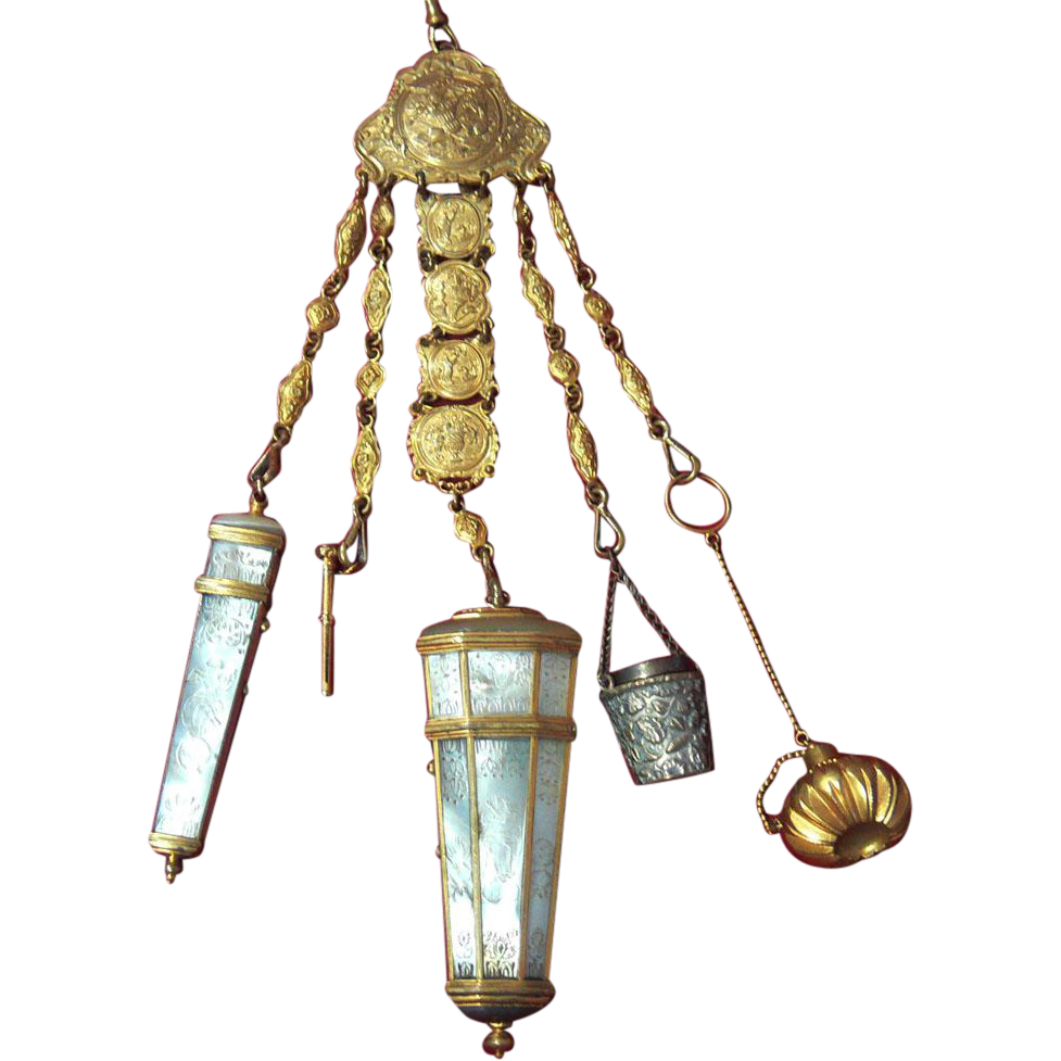 Mother Of Pearl Shell Sewing, Household Chatelaine, French, c1730-1860 PRICE REDUCTION