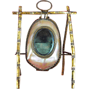 French Mother of Pearl Shell Pocket Watch Holder, c 1850 PRICE REDUCTION