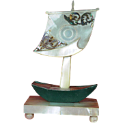 French Mother of Pearl Shell Sailing Boat Pocket Watch Holder c 1870 PRICE REDUCTION