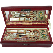 Palais Royal 1810-1820 Mother Of Pearl Boxed Sewing Set