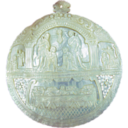 Carved Mother of Pearl Shell from the Holy Land -Nativity, Last Supper PRICE REDUCTION