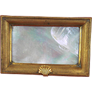 English c1840 Mother of Pearl Shell and Gilt Visiting Card Tray PRICE REDUCTION